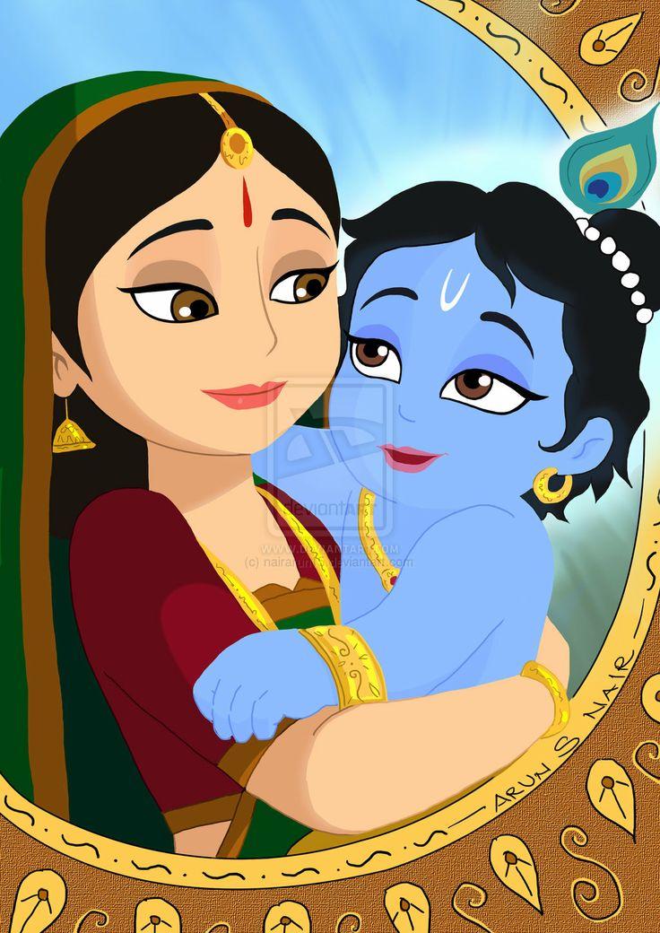 Cartoon Characters Krishna : Digital paint cute krsna with yashoda mai by nairarun