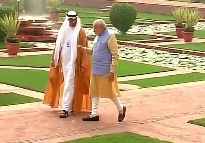 Modi discussed Prince of Abu Dhabi in the Garden, Modi discussed Prince of Abu Dhabi in the Garden,5 million agrrement sign