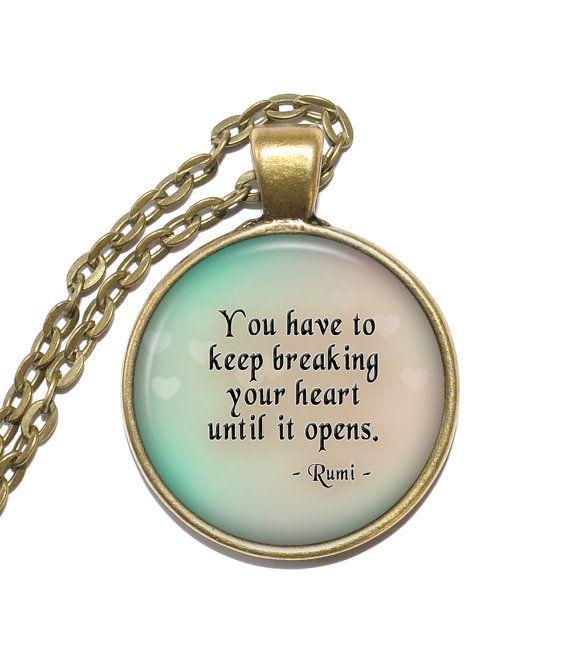Collier DEVIS RUMI, mystique, poète, érudit, théologien, Art pendentif, collier d'inspiration, de verre pendentif, bijoux faits main
