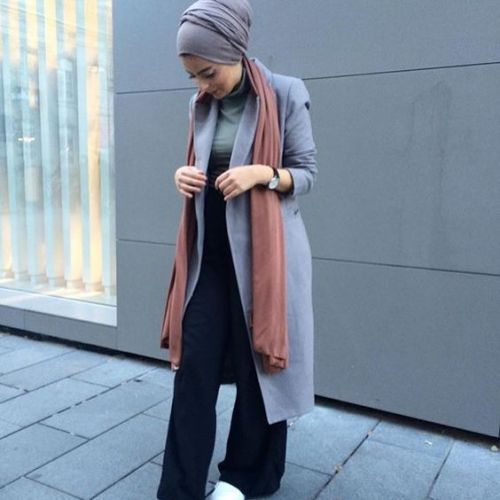 long gray coat turban style, How to get hijab trendy looks…