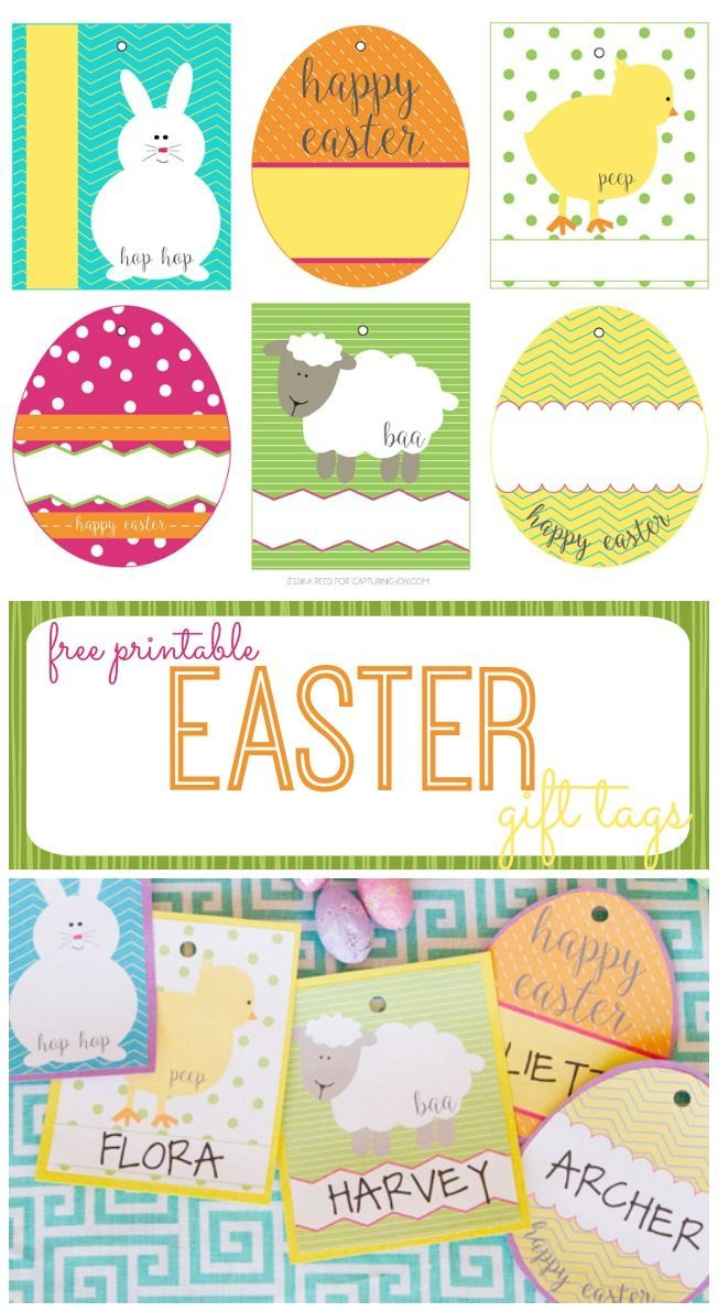 141 best printableseaster images on pinterest free printable free easter basket gift tags negle Image collections