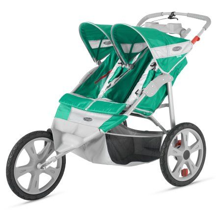 InStep Flash Fixed Wheel Double Jogging Stroller - Green/Gray, Black
