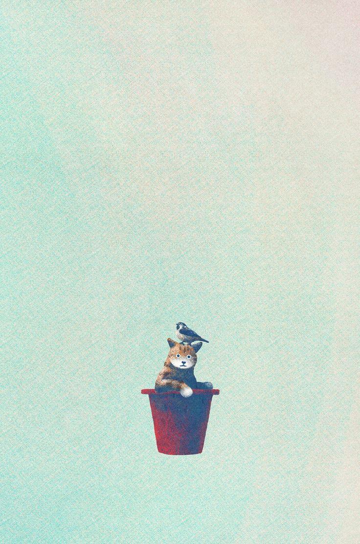 창작자들의 놀이터 : 그라폴리오  #일러스트 #일러스트레이션 #illust #illustration #고양이 #cat #sparrow #참새 #pot