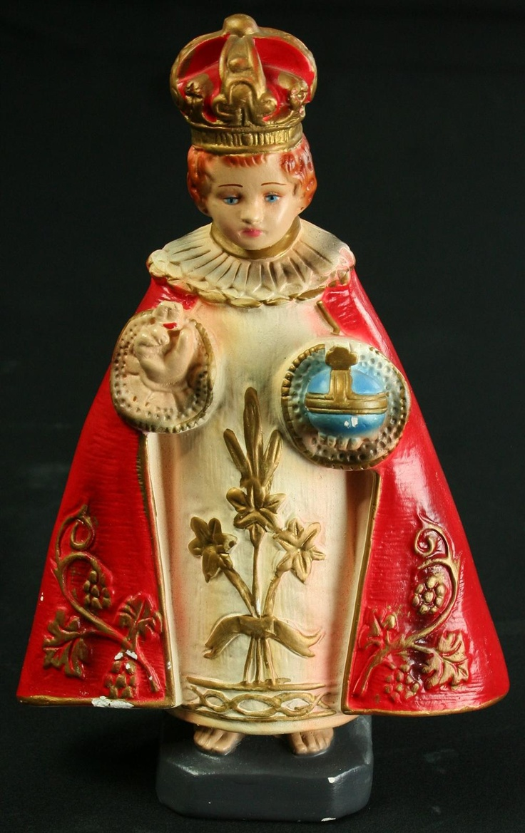 Vintage Chalkware Sculpture of the Infant Jesus Child of Prague in Crown & Robe