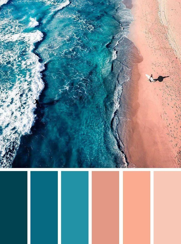 Peach And Teal Color Palette Ocean Inspired Bedroom