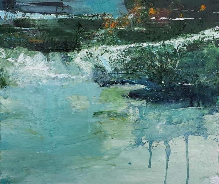 Dovedale: Spring River #1 30.5x35.5cm Oil & mixed media on canvas