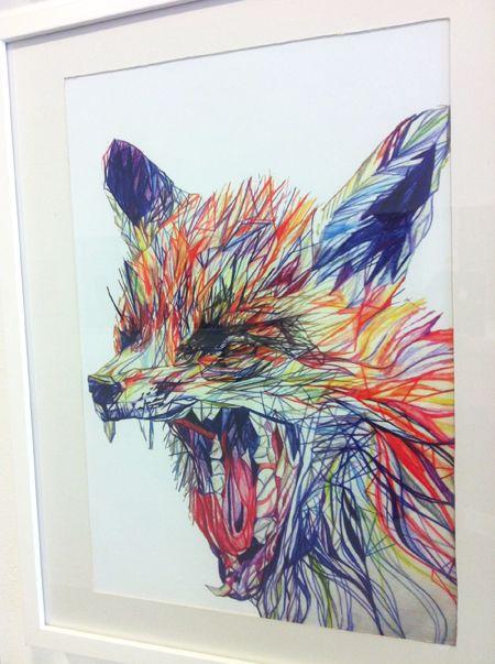 Claudine O'Sullivan's fox portrait, made using coloured pencils. Graphic and media design, LCC