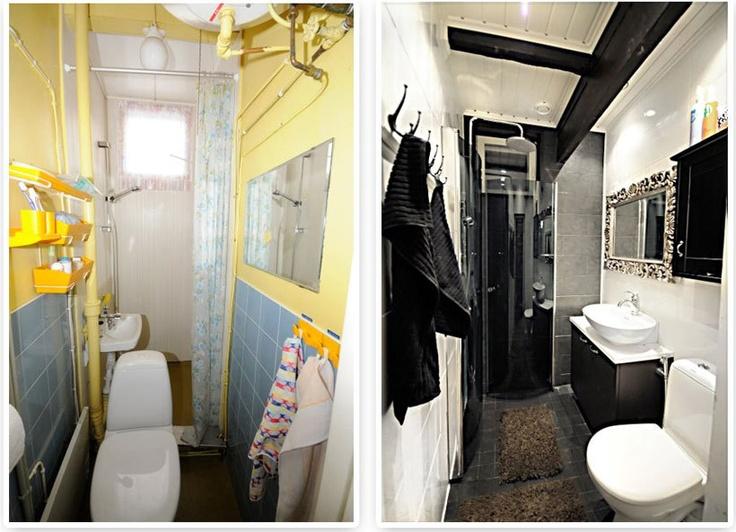 Anssin kylpyhuone ennen ja jälkeen.