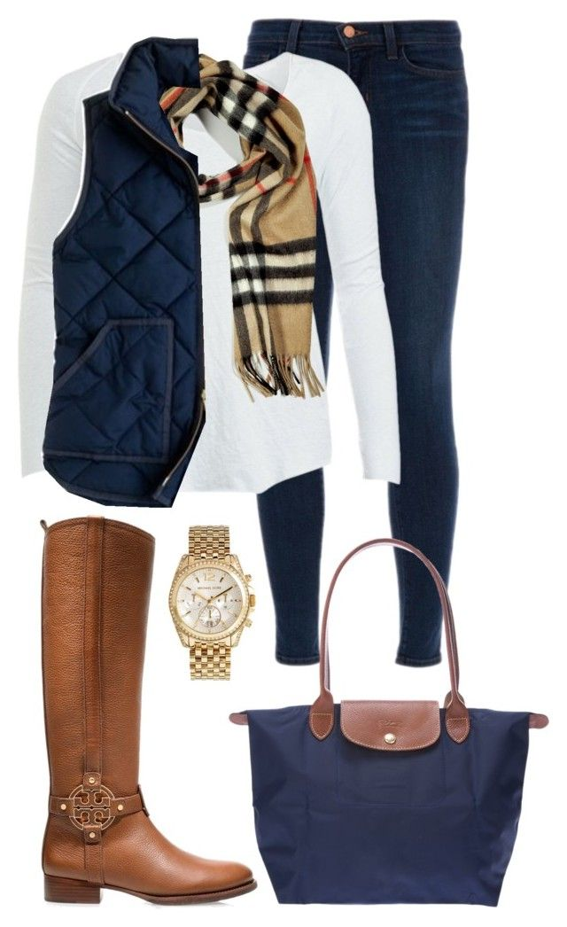 Burberry and Tory by preppy13 ❤ liked on Polyvore featuring J Brand, American Vintage, Burberry, J.Crew, Tory Burch, Longchamp and Michael Kors