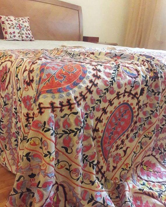 A silk on silk Uzbek suzani handmade.Wall hangingtablecloth