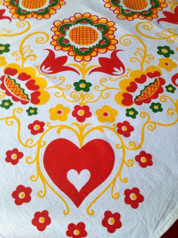 60s swedish vintage tablecloth. Decorative floral scandinavian pattern. Great condition.