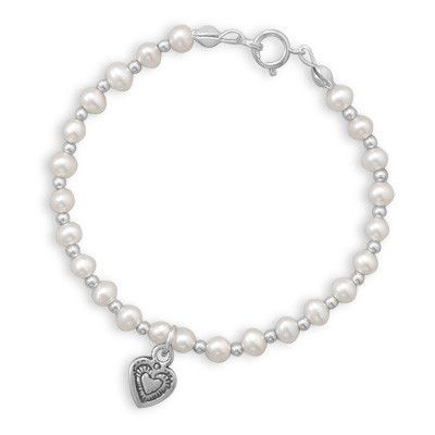 Children's Freshwater Pearl and Silver Bead Bracelet with Oxidized Heart