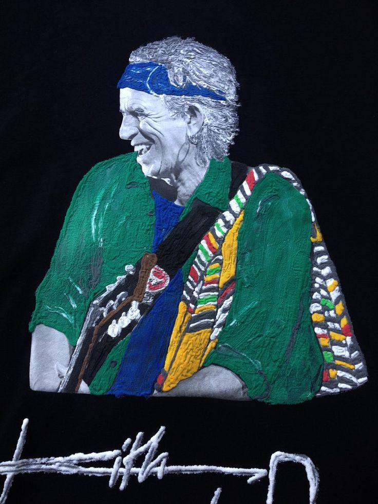 KEITH RICHARDS T-shirt Painted on relief  On Demand