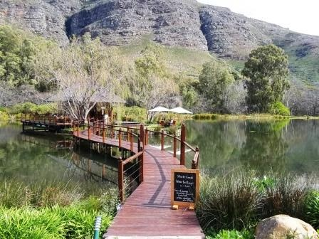 This is the tasting room at Stark-Conde wines. The tasting room is a wooden-cabin with a warm fire place, set in the middle of a lake. They also have a great cafe, the Postcard Cafe.