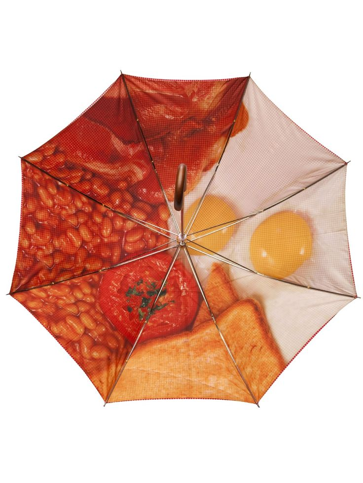 London Undercover English Breakfast Umbrella: red houndstooth on the outside, full English on the inside.