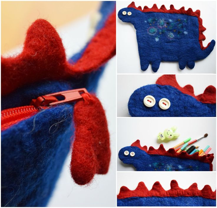 DINOSAURUS PENCIL CASE  Technique: felted Material: wool, plastic zipper, button  Funny pencil case made of colored merino wool.  Size: 26 cm (height), 38 cm (width) (dinosaurus belly: 18 cm x 20 cm)