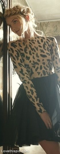 Leopard fashion hair black skirt leopard girlie fashion photography