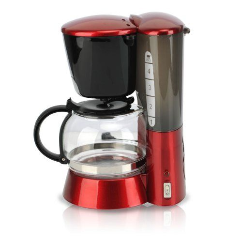 PHY 4-Cup/0.6L Switch Espresso Coffee Maker / Coffeemaker with Glass Carafe & Permanent Filter & Semi Transparent Water Tank, Red - http://www.coffee-house.net/coffee-makers/red-coffee-maker/phy-4-cup0-6l-switch-espresso-coffee-maker-coffeemaker-with-glass-carafe-permanent-filter-semi-transparent-water-tank-red/