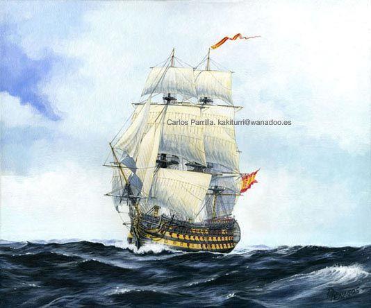 """Galeon""""Santa Ana"""" en 1805.  Pintura de Carlos Parrilla."""