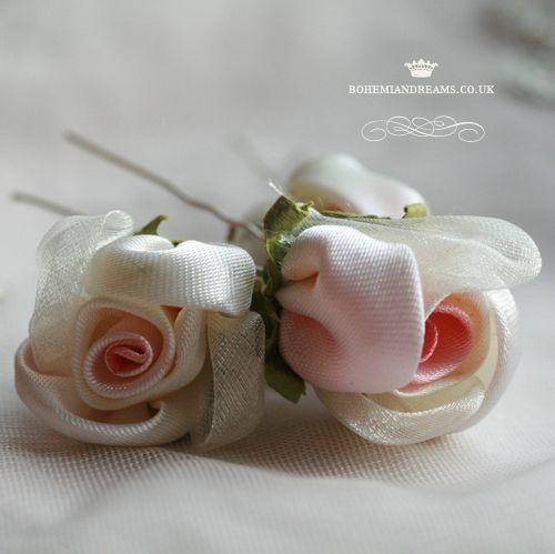 silk rose hair pins www.bohemiandreams.co.uk