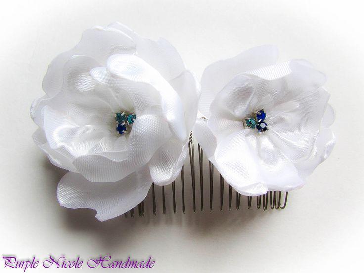 Galadriel - Handmade Bridal Decorative Hair Comb Flowers by Purple Nicole (Nicole Cea Mov). Materials: satin, blue and turquoise small rhinestones.