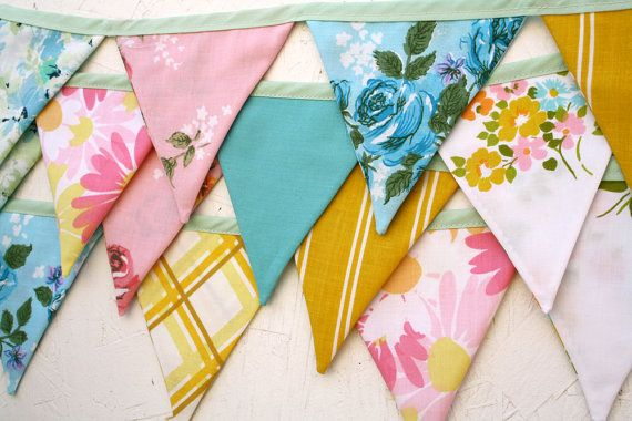 Sweet Vintage Fabric Flag Garland