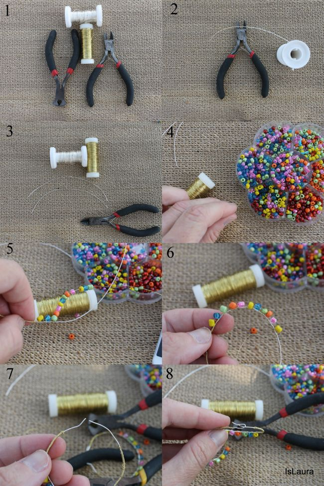 Facili orecchini con filo metallico e perline – Is laura
