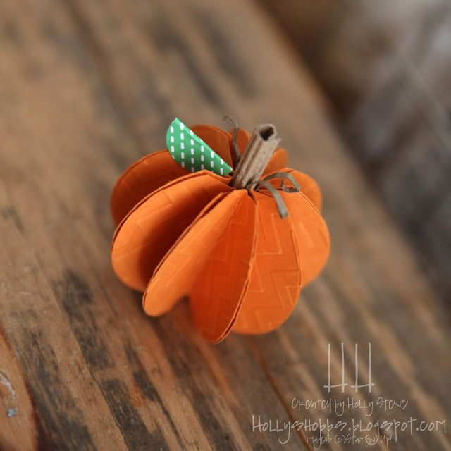 "Holly's Hobbies: create this paper pumpkin using a 2"" circle punch, chevron embossing folder and your big shot from Stampin' Up! Perfect for the thanksgiving table!"