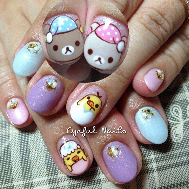 Instagram media by cynfulnails - Rilakkuma and friends!  #cutenails #sgnails #manicure #nails #nailart #nailporn #nailswag #nailartclub #nailsaddict  #nailsdesign #nailstagram #nailartoohlala #nailartjunkie #nailartheaven #gel #gelish #gelnails #gelextension #nofilter #cynfulnails #crystals #angelpro #angelprogelly #bellaforma #bellaformagel #rilakkuma #korilakkuma #rilakkumanails
