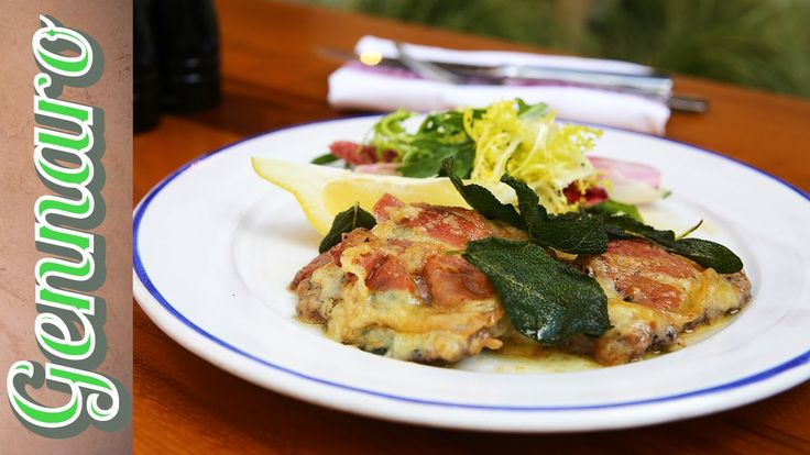 Veal Escalope with cheese, bacon, sage