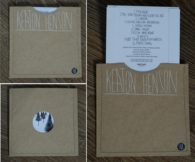 Keaton Henson hand sewn cd covers
