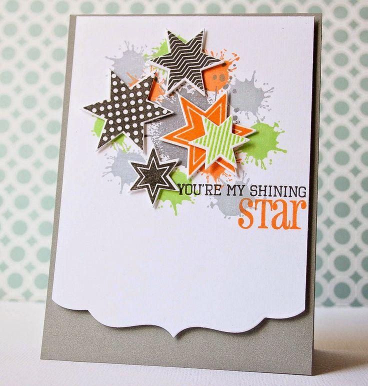 splatters & stars & decorative border/edge - cute card