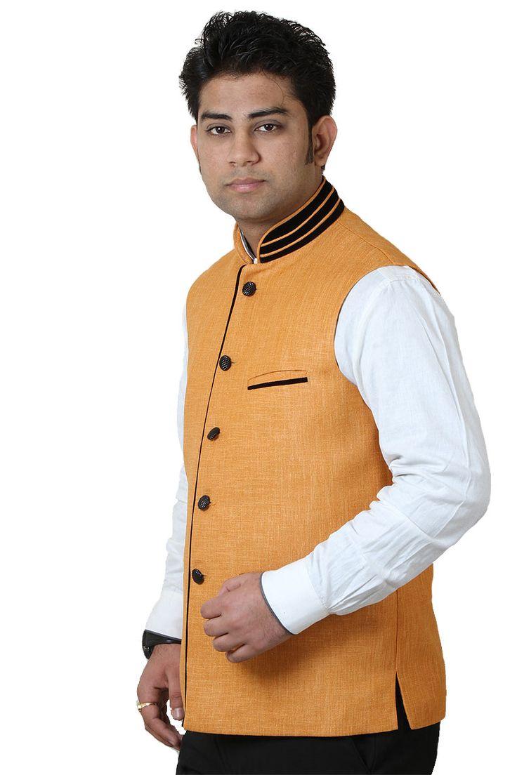 http://tinyurl.com/zun8985 Buy Exclusive & Designer GETABHI Orange Cotton Modi Jackets Online at GetAbhi.com