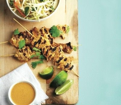Curried coconut-chicken skewers with honey-lime coleslaw