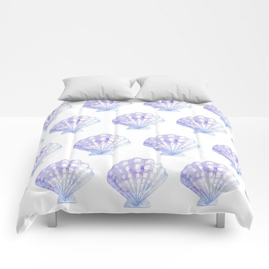 Purple and Blue Seashell Comforter | Mermaid Comforter | Ombre Comforter | Purple and White Comforter | Beach Bedroom | Ocean Bedroom | Girls Beach Bedroom