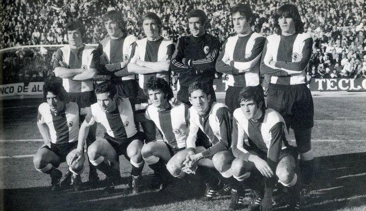 Hércules 1975/76 Antonio,Saccardi,Rivera,Deusto,Quique,Giuliano,Juanito,Baena,Barrios,Juan Carlos,Carcelen