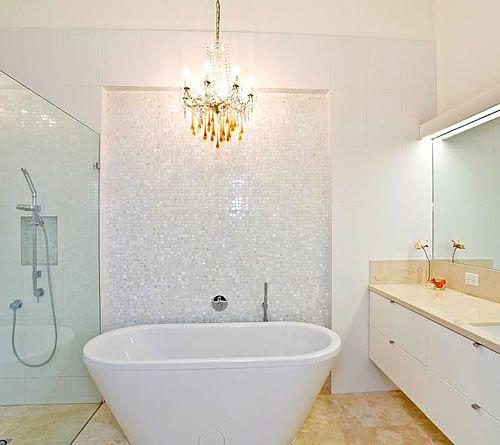 White Mosaic Tiles Bathroom