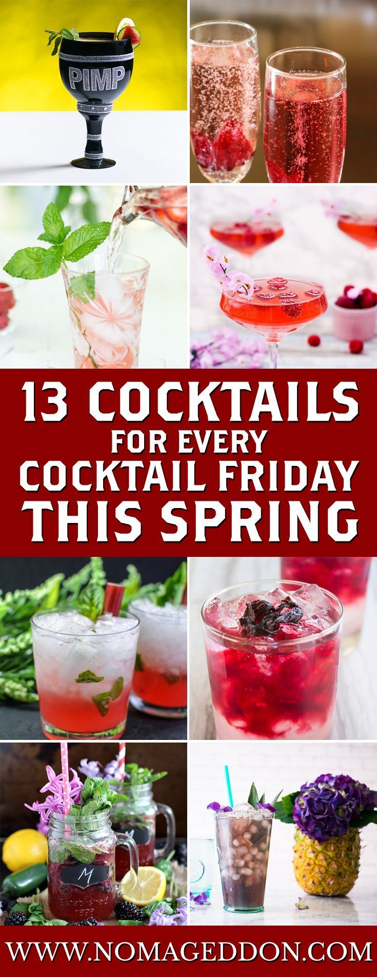 Every season has 13 weeks.  That means this spring has 13 cocktail Fridays and here are 13 drinks for you to sip under the blooming trees this spring.  We've got a Pimm's Cup In A Pimp Cup, Strawberry Mojito, Strawberry Basil Caipirinha, The Rhubasil Cocktail, Spiked Hibiscus Lemonade, Kombucha Lavendar Violette Vodka Cocktail, Cucumber Gin Elderflower Smash, Pear Hibiscus Brunch Cocktail, Raspberry Peach Champagne Cocktail, Patron Rosa Picante Margarita, Rosé Sangria, Lemon Jalapeño Roasted