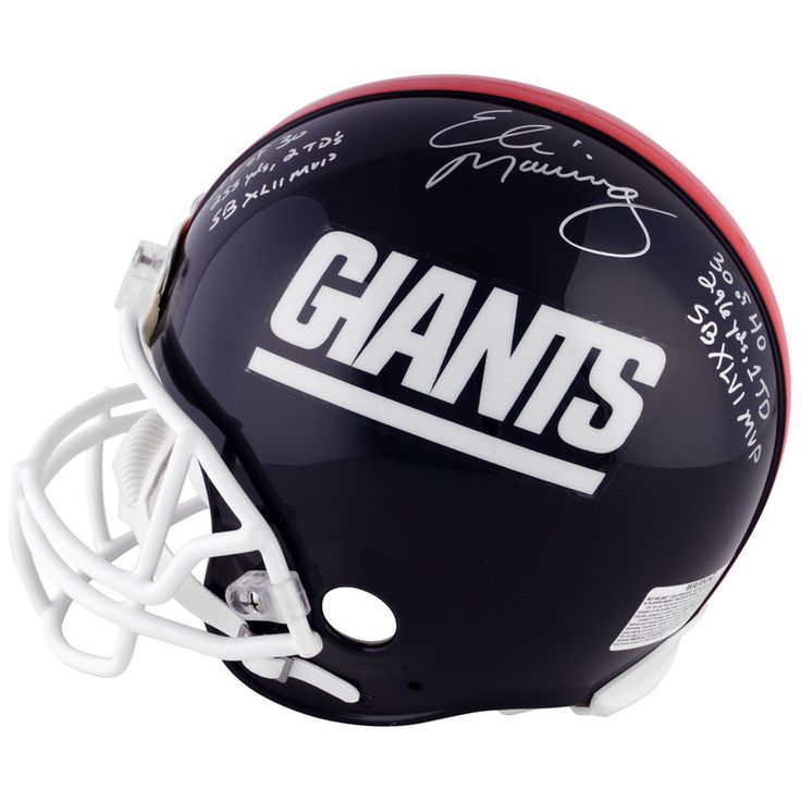 Eli Manning, Ottis Anderson, Phil Simms New York Giants Fanatics Authentic Autographed Proline Helmet with SB MVP Stats Inscriptions - #2-9 of a Limited Edition of 10