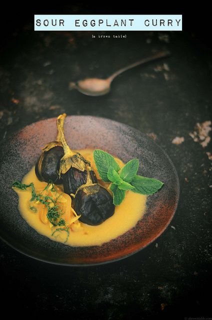 spicy sour eggplant curry by abrowntable, via Flickr
