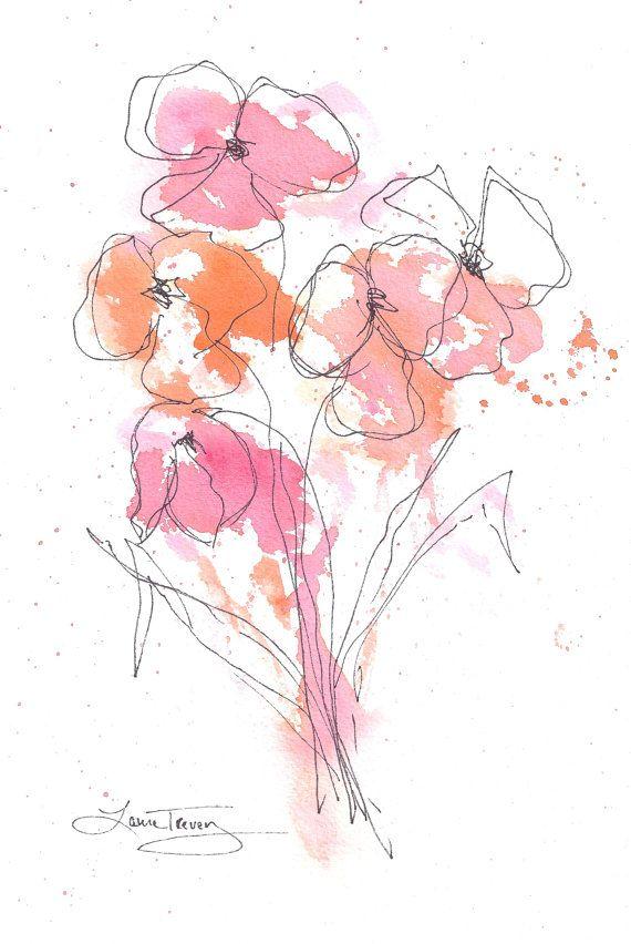 dance in the garden - original watercolor