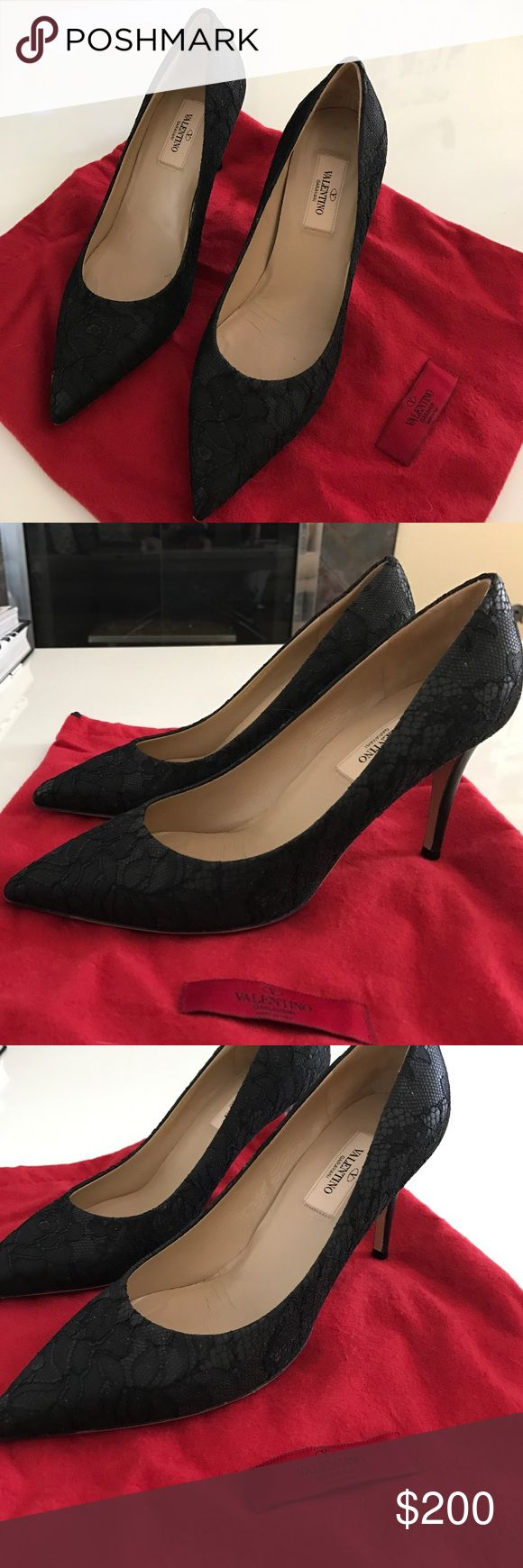 Valentino - black lace stilettos Only worn once!💕 / 3.5 in heel / lace overlay over leather / pointed toe / comes with original box / Valentino Shoes Heels
