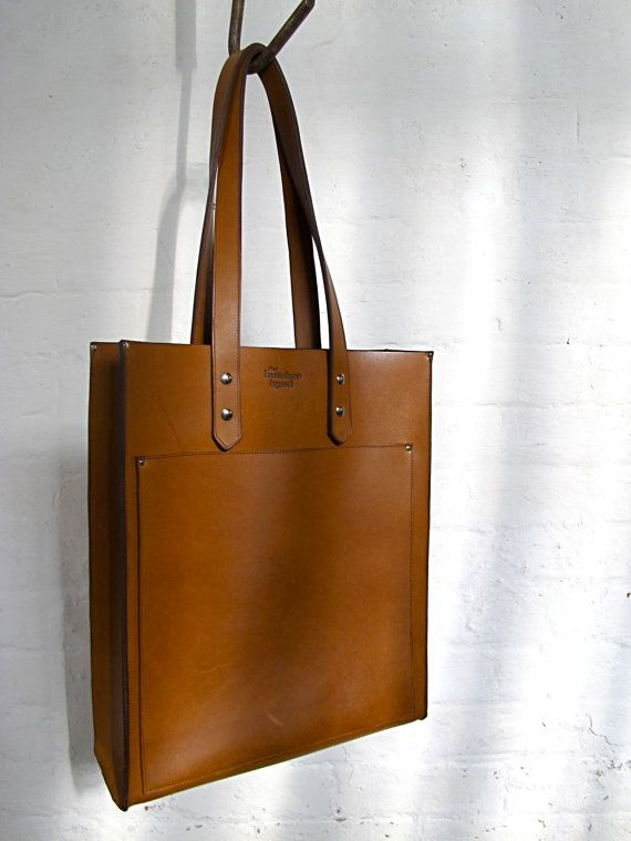 The Pocket Tote  Tan leather by TheButcherByrd on Etsy