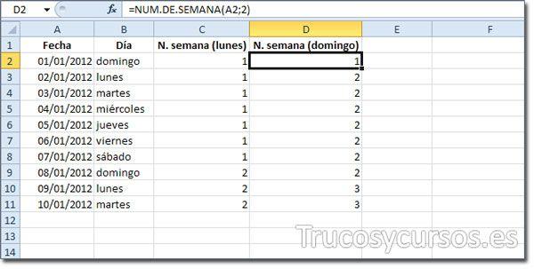 El número de semanas del año en Excel.
