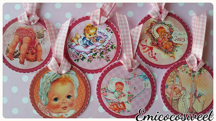 6xWelcome tag,Thank Tag,Baby Girl Shower,Party Favour tag,Cute Vintage Hang Tag