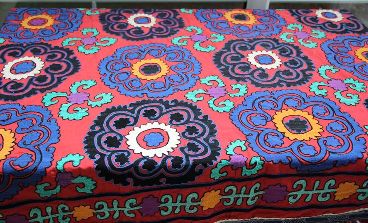 UZBEK SUZANI TABLE COVER, UNIQUE & ONE OF A KIND