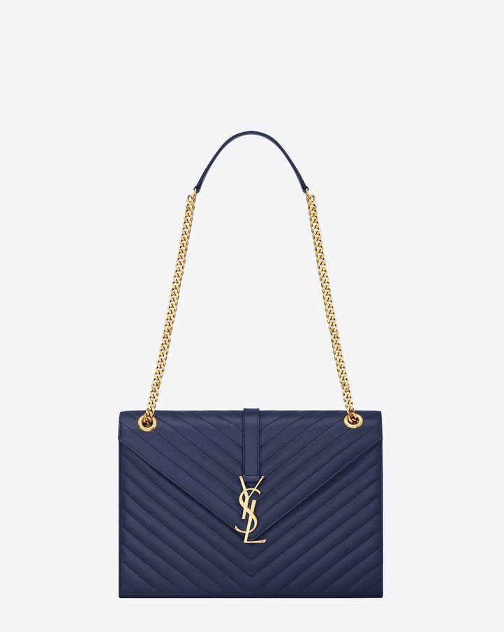 saintlaurent, Grand satchel Monogramme Saint Laurent en cuir texturé grain-de-poudre matelassé bleu