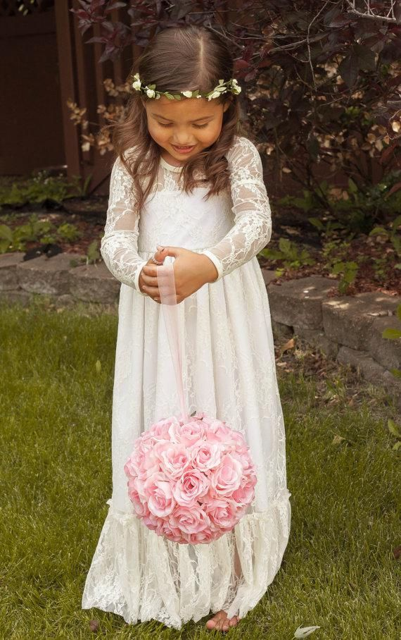 2014 Vintage Princess A Line Lace Flower Girl Dress Sheer Jewel Neck Long Sleeves Cute Floor Length Back Bow Cheap Hot Sale Christmas Dress, $88.47 | DHgate.com
