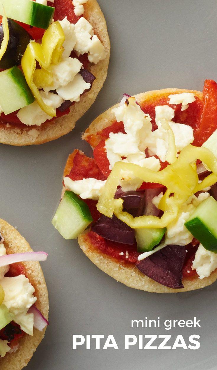 Mini Greek Pita Pizzas. Mini pitas make the perfect little bases for ...