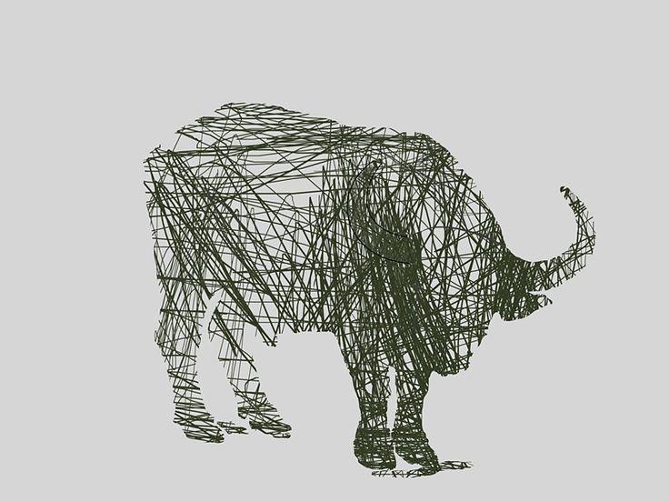 Buffalo Line Drawing - Contemporary Art Print by André Pillay on www.digitalgallery.co.za  #art #prints #PrintWild  #wildlifeart  #buffalo  #hotelart